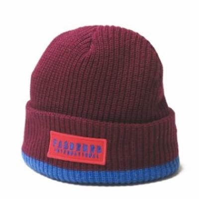 Pas De Mer パドゥメ INTERNATIONAL BEANIE インターナショナルビーニー フリー ボルドー ロゴ刺繍 ニットキャップ 帽子