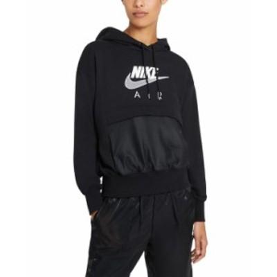 ナイキ レディース シャツ トップス Logo Mesh-Trim Hooded Sweatshirt Black/white