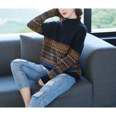 エスニック 柄 セーター 2色