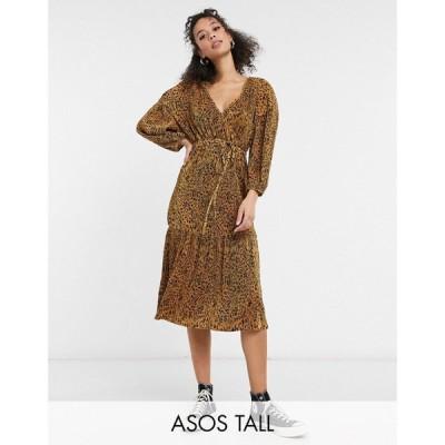 エイソス ASOS Tall レディース ワンピース ラップドレス ミドル丈 Tall midi plisse wrap long sleeve belted dress in neutral animal print