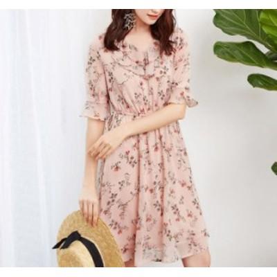 ワンピース 人気 夏 新作 ショート丈 花柄 フリル #1380