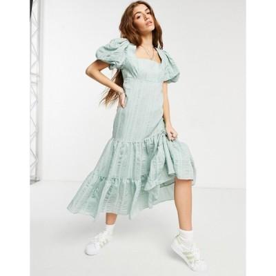 フォーエバーニュー ミディドレス レディース Forever New puff sleeve square neck midaxi smock dress with bow back in soft mint エイソス ASOS