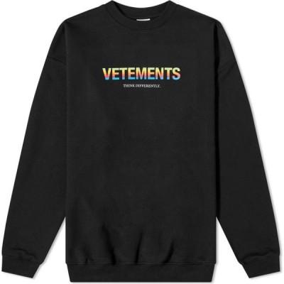 ヴェトモン VETEMENTS メンズ スウェット・トレーナー トップス Think Differently Logo Crew Sweat Black