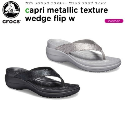 クロックス crocs カプリ メタリック テクスチャー ウェッジ フリップ ウィメン capri metallic texture wedge flip w レディース サンダル[C/A]