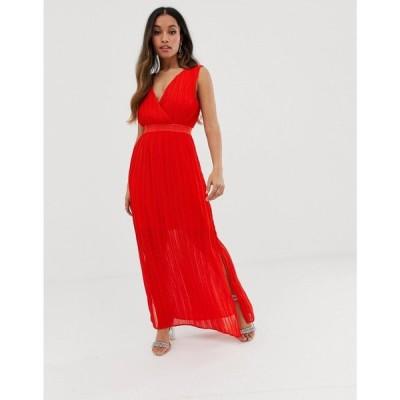 ワイ エー エス Y.A.S Petite レディース ワンピース ワンピース・ドレス pleated wrap maxi dress Red