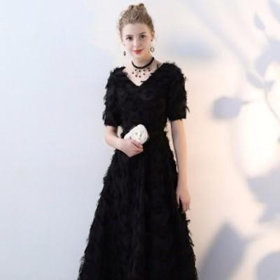 大きいサイズ パーティードレス 美しい黒の世界広がる 黒 ワンピース ワンピース 小さいサイズ 結婚式 上品な ドレス