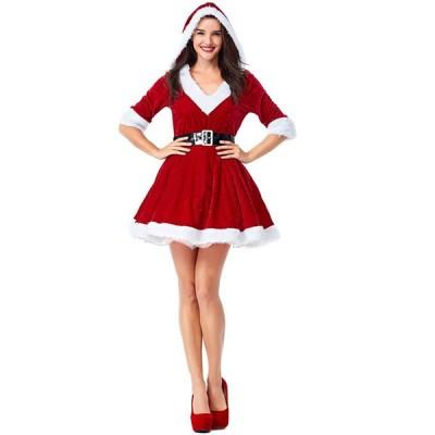 クリスマス 衣装 仮装 コスプレ サンタ 大人 レディース 女性 ワンピース 暖かい 秋冬 防寒 送料無料