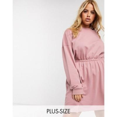ミスガイデッド レディース ワンピース トップス Missguided Plus ruched sweater dress in pink
