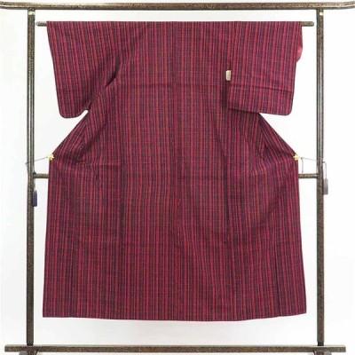 リサイクル着物 紬 正絹紺地格子柄袷真綿紬着物
