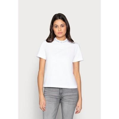 カルバンクライン Tシャツ レディース トップス LOGO INTARSIE TEE - Print T-shirt - white