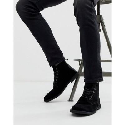 エイソス メンズ ブーツ・レインブーツ シューズ ASOS DESIGN Desert boots in black suede with leather detail