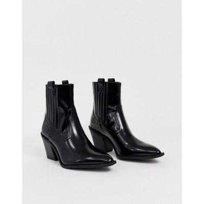 プルアンドベアー レディース ブーツ・レインブーツ シューズ Pull&Bear high heeled patent western chelsea boots in black