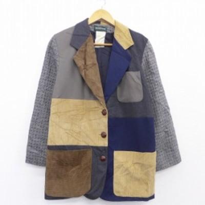 古着 長袖 テーラード ジャケット クレイジーパターン コーデュロイ ウール 濃グレー 中古 アウター ジャンパー ブルゾン ジャケット 古