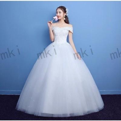 ウェデイングドレス花嫁ドレスウエディングロングドレス花柄白ドレスプリンセスライン結婚式披露宴ブライダル
