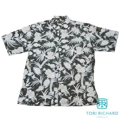 Tori Richard 【トリリチャード アロハシャツ】 レギュラーサイズ 本物のメイドインハワイアロハブランド セラミック ブラック