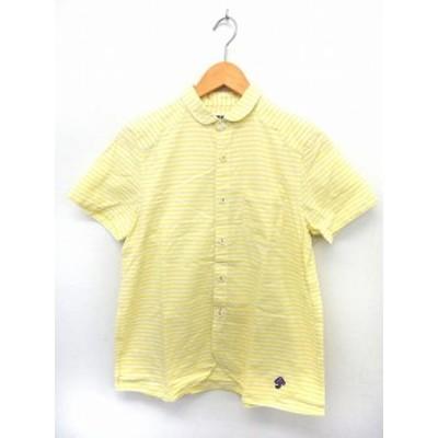 【中古】フラボア FRAPBOIS シャツ 半袖 丸襟 ボーダー ポケット ポケット 綿 コットン 1 イエロー ホワイト /ST9