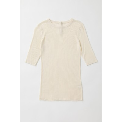 マウジー moussy SHELL BUTTON RIB KNIT TEE (アイボリー)