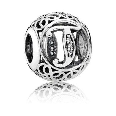 【PANDORA】パンドラ Vintage Letter T Charm with Clear Zirconia