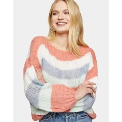 トップショップ レディース ニット・セーター アウター Topshop oversized sweater in multi stripe Multi
