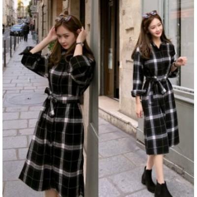 チェック ワンピース 冬 韓国 ファッション ワンピース ウエストマーク ワンピース 秋冬 レディース タータンチェック ワンピース チェッ