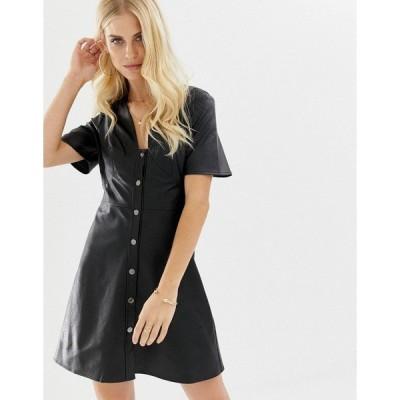 エイソス レディース ワンピース トップス ASOS DESIGN PU button through mini tea dress Black
