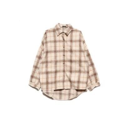 スタイルブロック STYLEBLOCK 起毛ビッグチェック柄ビッグシャツ (ベージュ)