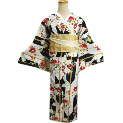 着物 袷 洗える 半巾帯 細帯 リバーシブル セット LL トールサイズ オフホワイト白色地黒矢絣椿橘梅