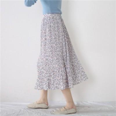 フェミニンプリーツスカート 小花柄 上品 シフォン デート OL お出かけコーデやオフィスコーデに!