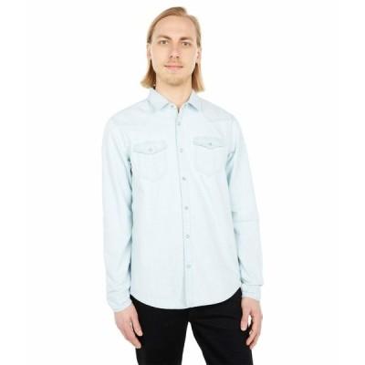スコッチアンドソーダ シャツ トップス メンズ Regular Fit - Organic Cotton Classic Western Shirt Bleached Indigo