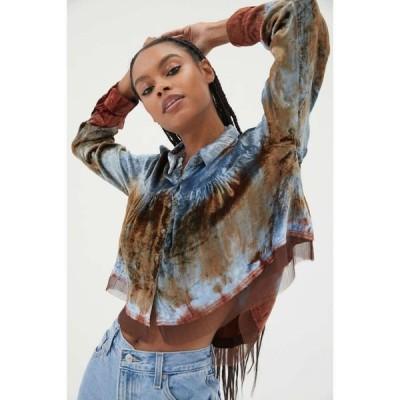 アーバンアウトフィッターズ Urban Outfitters レディース ブラウス・シャツ トップス UO Willow Tie-Dye Velvet Top Sapphire