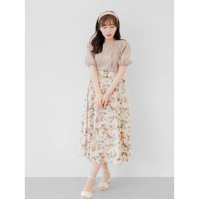 儚く輝く夕焼けの花柄スカート