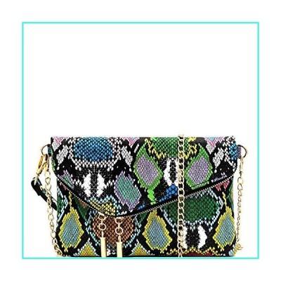 【新品】Fashion PU Leather 2 Way Flap Clutch Wristlet Bag with Chain Shoulder strap (1Snake Print - Multi)(並行輸入品)