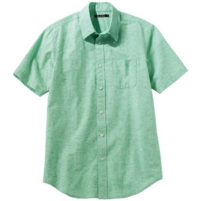 きれいめ仕上げリネンブレンドシャツ(半袖)/グリーン系/S