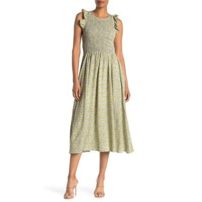 メロデイ レディース ワンピース トップス Smocked Cap Sleeve Maxi Dress YELLOW MULTI