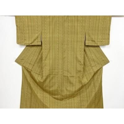 宗sou 未使用品 縞に幾何学模様織り出し手織り紬着物【リサイクル】【着】