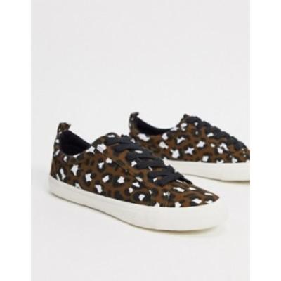 エイソス レディース スニーカー シューズ ASOS DESIGN Dunn lace up sneakers in leopard Leopard