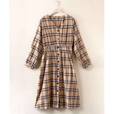 【大きいサイズ】 チェックギャザーボリューム袖ワンピース【Blistorm】 ワンピース, plus size dress