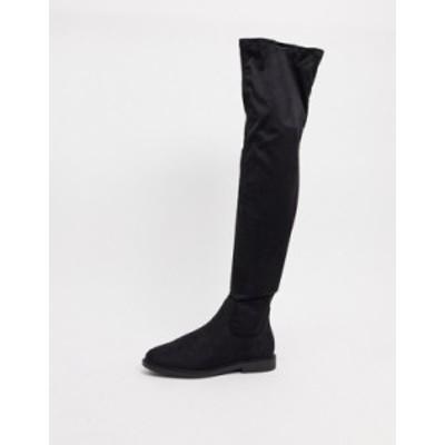エイソス レディース ブーツ・レインブーツ シューズ ASOS DESIGN Kennedy flat over the knee boots in black Black