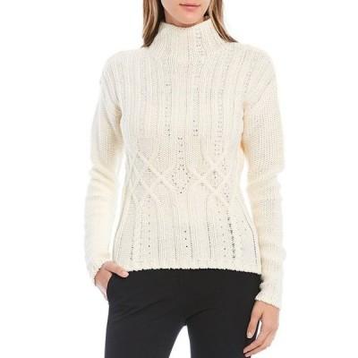 ダナキャラン レディース パーカー・スウェット アウター Embellished Cable Knit Mock Neck Wool Blend Sweater