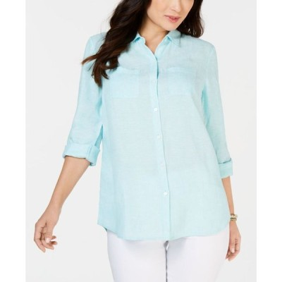 チャータークラブ レディース シャツ トップス Petite Linen Button-Front Shirt