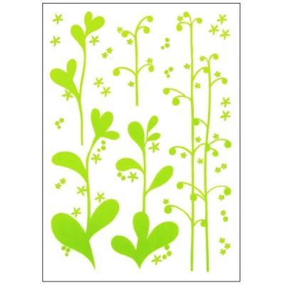 ウォールステッカー 消臭 抗菌 貼ってはがせる 草原の植物 シール 葉っぱ 黄緑 グリーン 植物 樹木