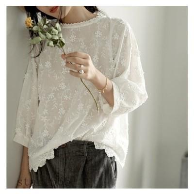 刺繍 ブラウス レディース トップス 花柄 刺繍 シャツブラウス 9分袖ブラウス 刺繍シャツ 森ガール風 ゆったり