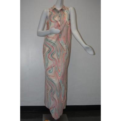 ワンピース エティエンヌアイグナー w TAG Etienne Aigner Shirt Button Down Marble Print Maxi Tunic Dress 6