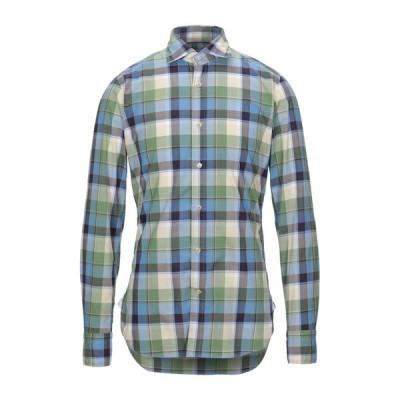 GUGLIELMINOTTI チェック柄シャツ ファッション  メンズファッション  トップス  シャツ、カジュアルシャツ  長袖 スカイブルー