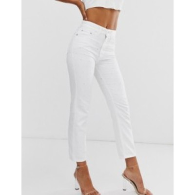 リバーアイランド レディース デニムパンツ ボトムス River Island mom jeans in white White