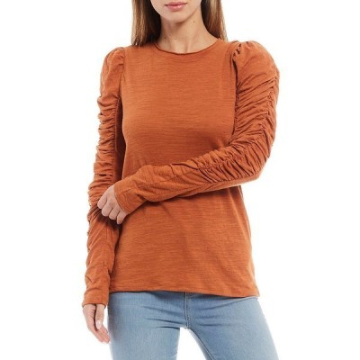 フリーピープル レディース Tシャツ トップス Natasha Puffed Shoulder Ruched Long Sleeve Soft Knit Tee Amber