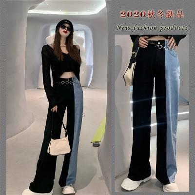 2020ファッションの新商品、ハイウエストとワイドジーンズの韓国版insファッションカジュアルパンツのストレートズボン