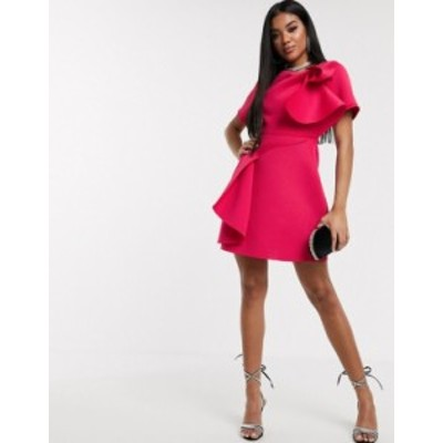 エイソス レディース ワンピース トップス ASOS DESIGN t-shirt tuck detail mini skater dress in hot pink Hot pink