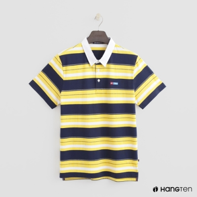 Hang Ten - 男裝 - 經典休閒條紋POLO衫 - 黃
