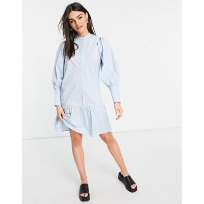 ワイエーエス レディース ワンピース トップス Y.A.S organic cotton mini smock dress with deep cuffs in light blue